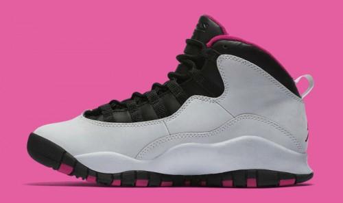 Air Jordans 10 Retro GG Pure PlatinumBlackVivid Pink 487211008